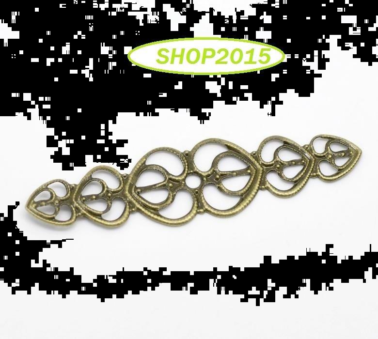 connettore ,base in filigrana   traforato cuori bronzo 5,3 x1,4 cm