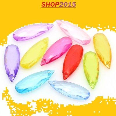 10  mix perle , ciondoli forma a goccia sfaccettate 22×8mm