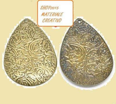 Ciondolo  pendente a goccia in filigrana Color Bronzo 4.5×3.1cm