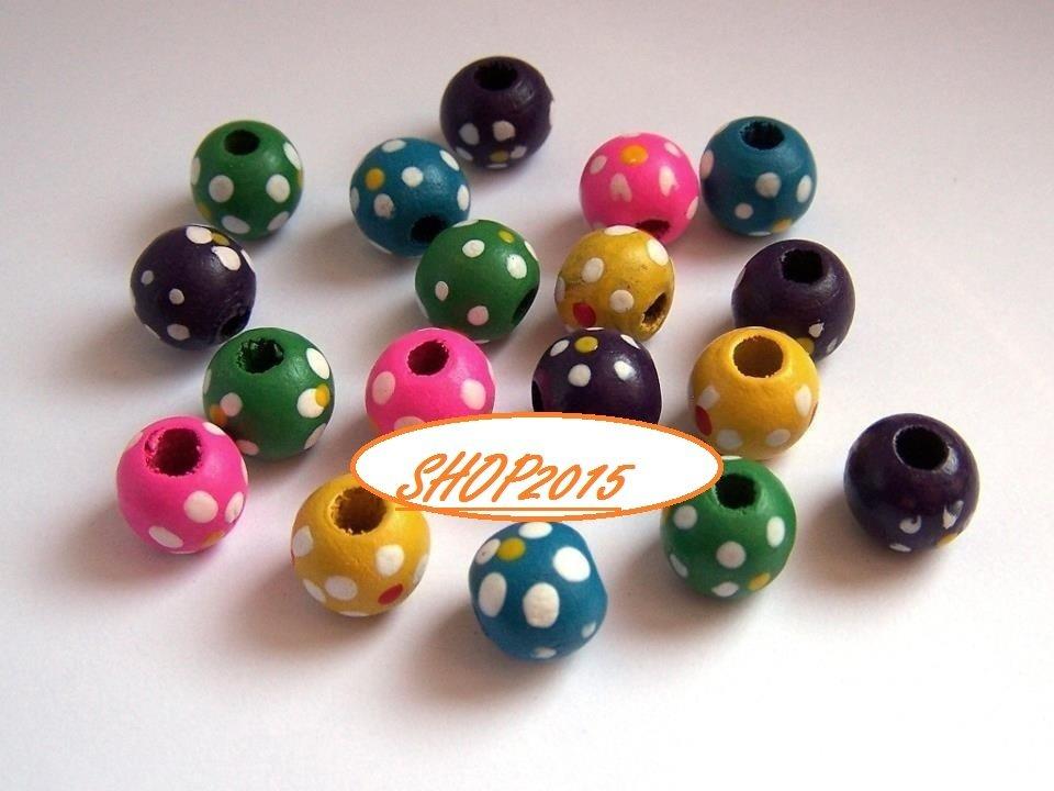 10 mix  perle distanziatori in legno a pois 10 mm vari colori
