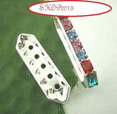 connettore ,distanziatore con 5 Fori con strass colorati  21x7.5 mm