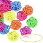 6  Ciondoli (3 coppie)  ,pendenti  basi orecchini a fiore 2,4x2,5 cm