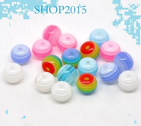 15 mix  Distanziatori Perle a Sfera  in resina 8 mm a striscee
