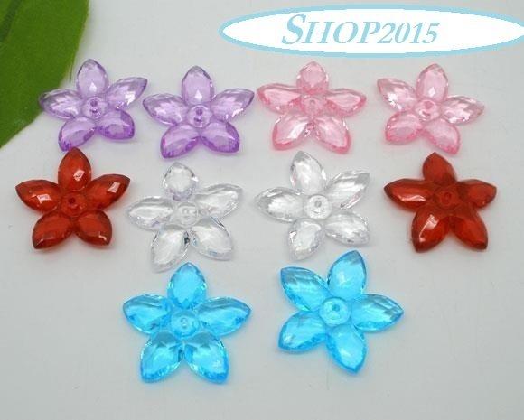 5 mix  perle distanziatori a fiore sfaccettate  3,2 cm