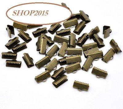 5 pz Capocorda terminale fermanastro dentato tono bronzo 13x8 mm