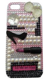 Cover La Vie en Rose iPhone 5 5G 5S - PEZZO UNICO! idea regalo custodia fashion perle strass rossetto scarpe paris parigi