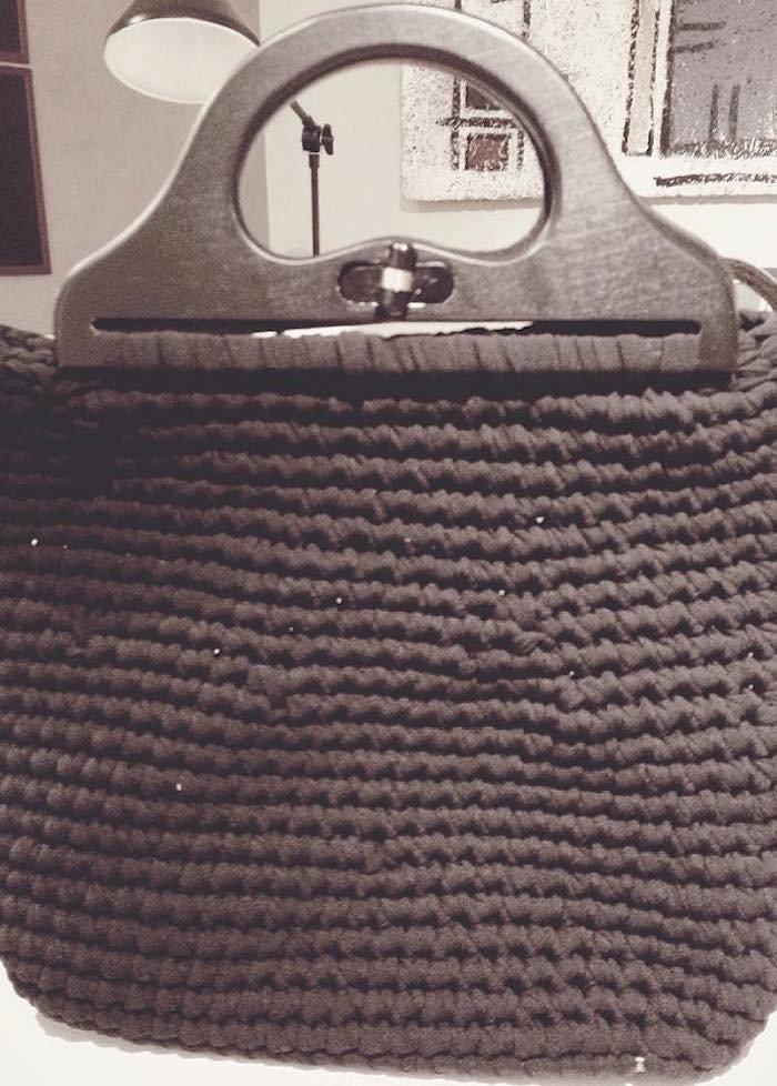 borsa shopper manico legno con girello