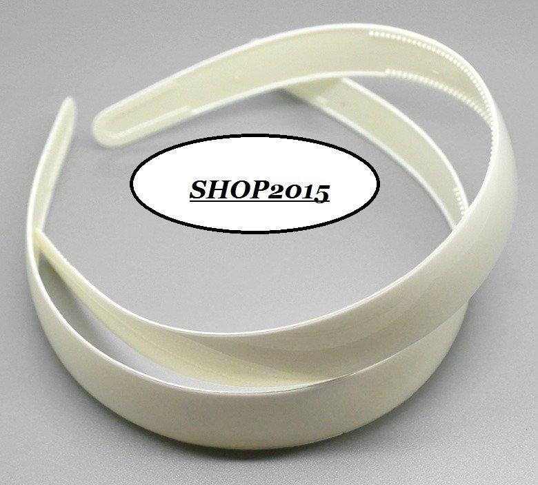 base Cerchietto  per Capelli in Plastica Bianco Larghezza 2,5 cm