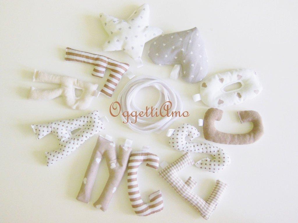 Francesco:ghirlanda di lettere di cotone imbottite di morbida ovatta come idea regalo per una nascita o un 1° compleanno!