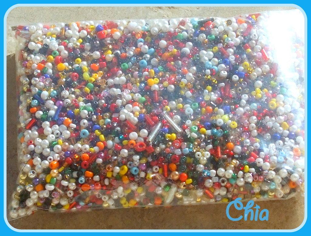 Maxi lotto conteria mix perline varie forme e colori 125gr