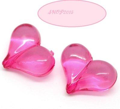 distanziatore perla forma cuore fucsia 2,2x1,7 cm