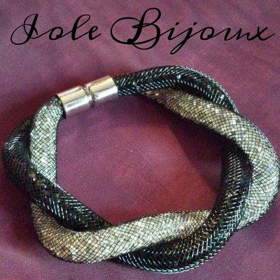 Bracciale stile Stardust intrecciato bicolor nero/grigio