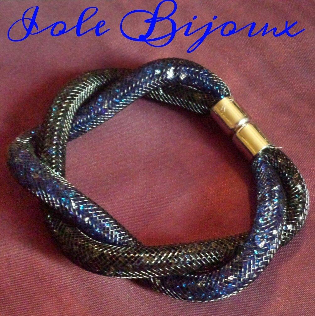 Bracciale stile Stardust intrecciato bicolor blu/blu scuro