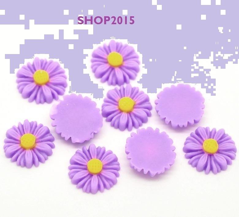 cabochon Decorazione Fiori  Violetto  13×13mm
