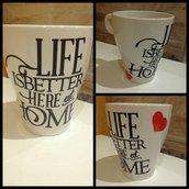 Tazza in ceramica con decorazione in vinile