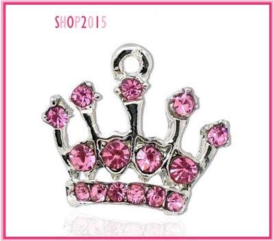 Charm ciondolo corona coroncina con strass rosa 19x18 mm
