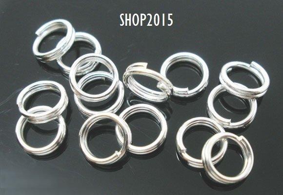 10 anellini , anelli apribili 6 mm  a doppio giro  argentato