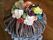 Centrotavola in rattan , decorazioni di fiori in pasta di mais modificata