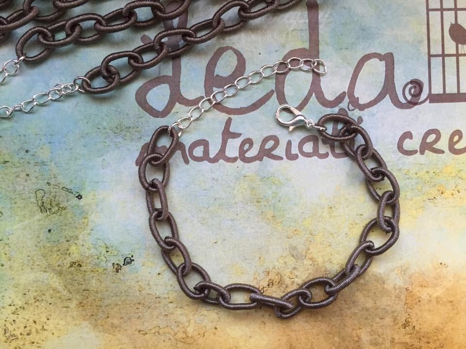 Base bracciale catena di seta grigio scuro