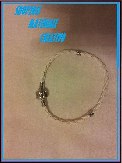 base bracciale in cuoio Intrecciato per perle foro Largo 18cm bianco