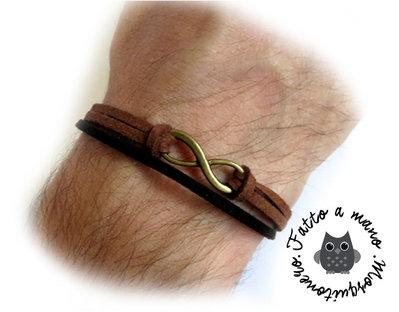 Bracciale uomo braccialetto infinito bronzo Nero & Marrone pelle Artigianale infinity