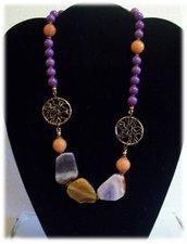 collana corta viola/arancio