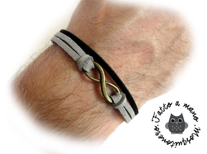 Bracciale Infinity uomo braccialetto infinito Grigio & Nero bronzo pelle Artigianale