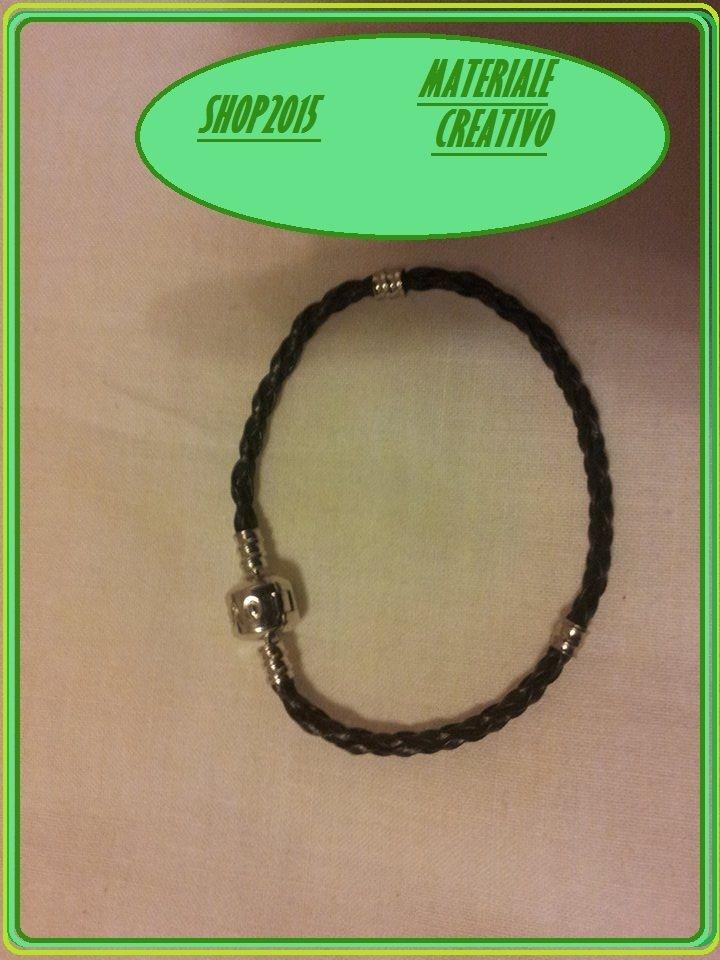 base bracciale in cuoio  per perle  A foro Largo 18cm  NERO