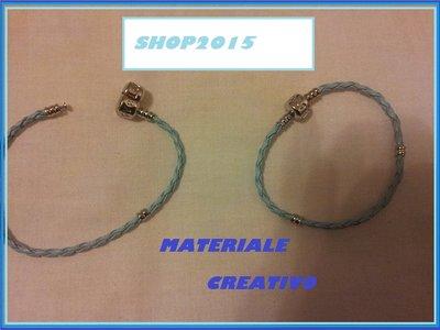 base bracciale in cuoio  per perle  a foro Largo 18cm  CELESTE