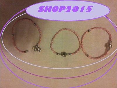 base bracciale in cuoio  per perle  a foro Largo 18cm  ROSA
