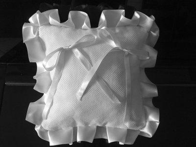Cuscino fedi cuscinetto portafedi fedi volant raso da ricamare matrimonio nozze