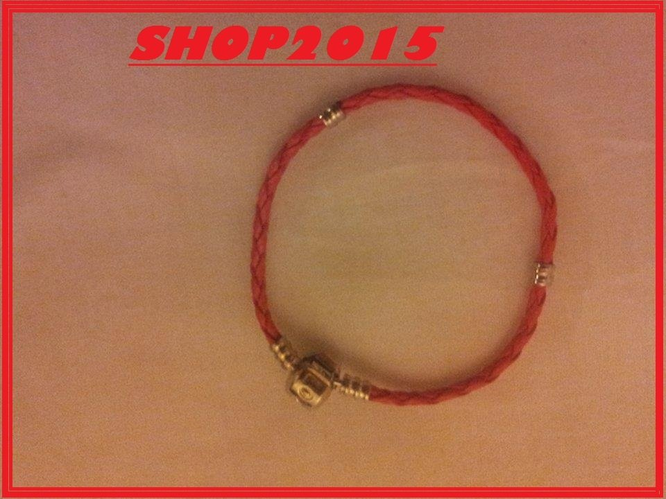 base bracciale in cuoio  per perle  a foro Largo 18cm  ROSSO