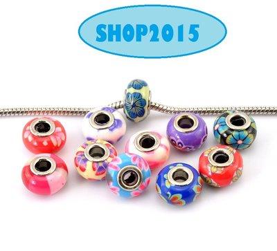5 mix distanziatori perle in argilla foro largo multicolore 15×9mm foro 4,5 mm