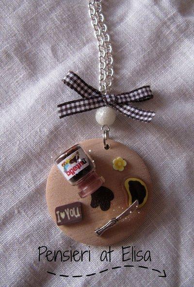 Collana vassoio legno grande Nutella rovesciata handmade in fimo