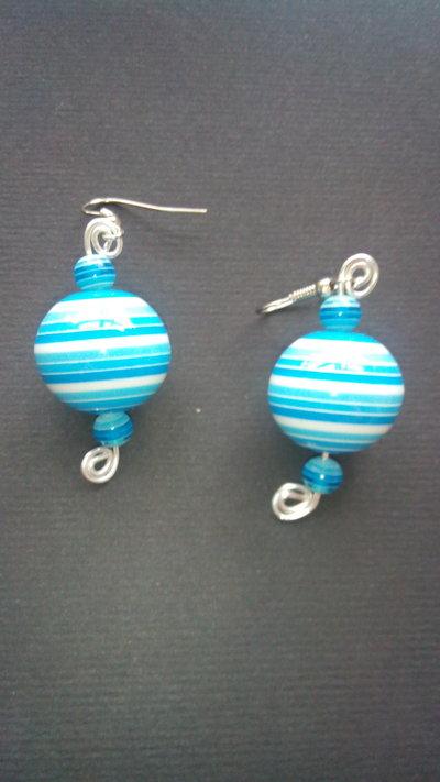 Orecchini Ciondoli Pendenti con perla grande 20mm con palla rotonda a striscie e alluminio lotto stock bigiotteria