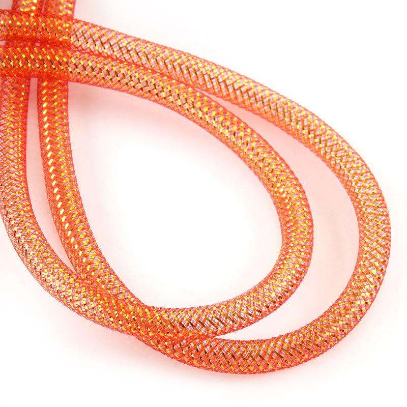 1 mt  rete tubolare in nylon elastico arancio foro 1 cm x creazioni bijoux