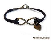 Bracciale simbolo infinito e cuore in bronzo stile vintage