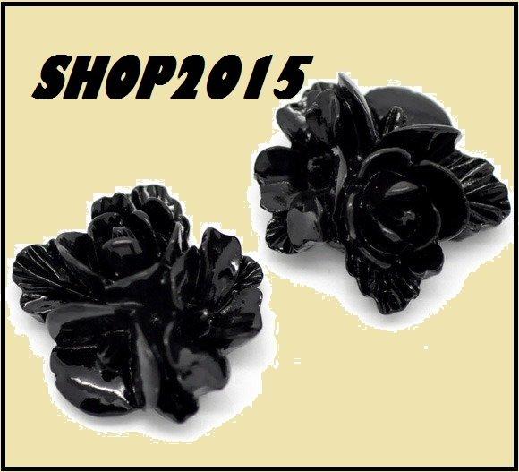 cabochon decorazione fiore in resina nero 16 mm