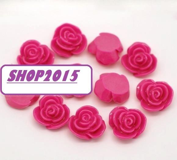 cabochon decorazione fiore fucsian 14x8 mm