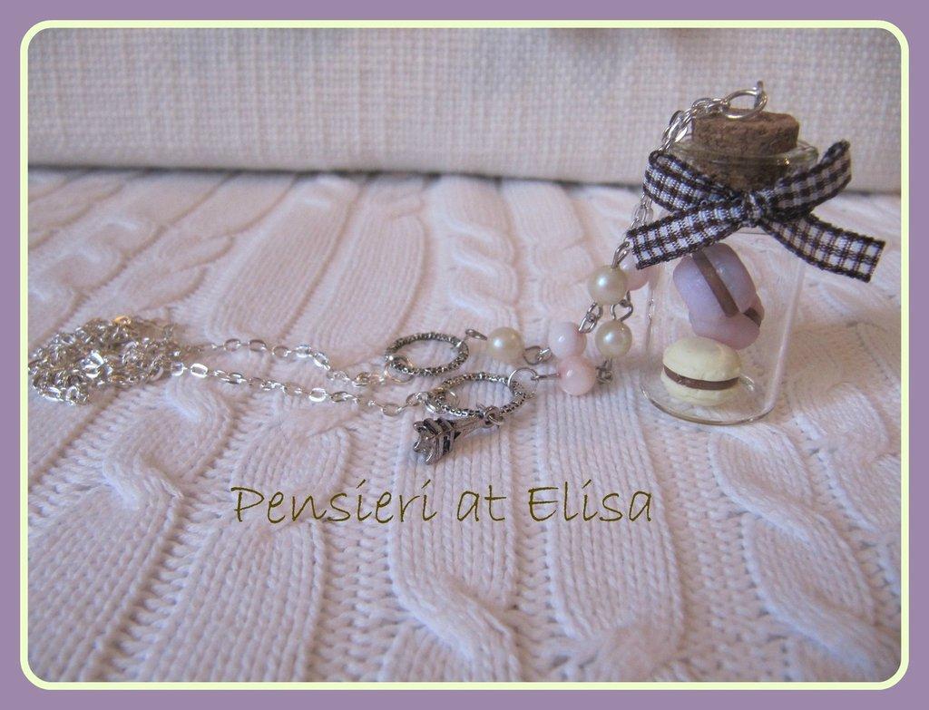 Collana barattolo macarons rosa e gialli handmade in fimo