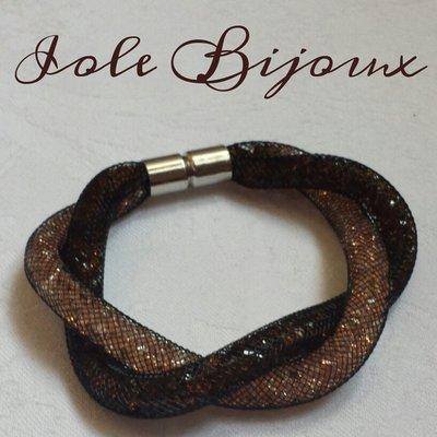 Bracciale stile Stardust intrecciato bicolor beige/marrone