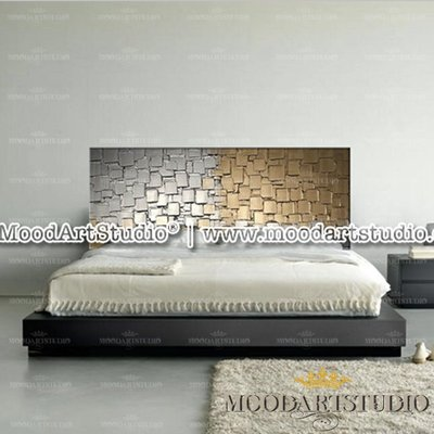 Testiera da letto dorata in rilievo