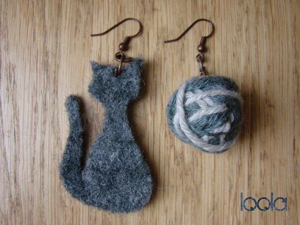 orecchini gatto&gomitolo in feltro