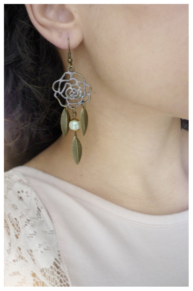 orecchini in bronzo anticato True Roses vintage style