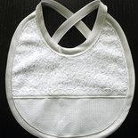 Bavaglino bavetta neonato spugna raso sangallo da ricamare punto croce battesimo