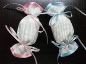 Sacchetti bomboniera aida caramella portaconfetti da ricamare puntocroce nascita