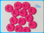 set 10 bottoni fiorellino fucsia