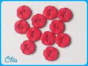 set 10 bottoni fiorellino rosso cupo