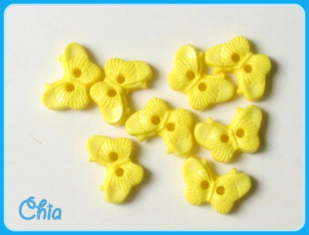 set 10 bottoncini farfalla gialla