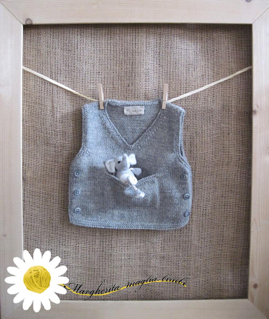 Gilet bambino fatto a mano in pura lana vergine shetland grigio chiaro